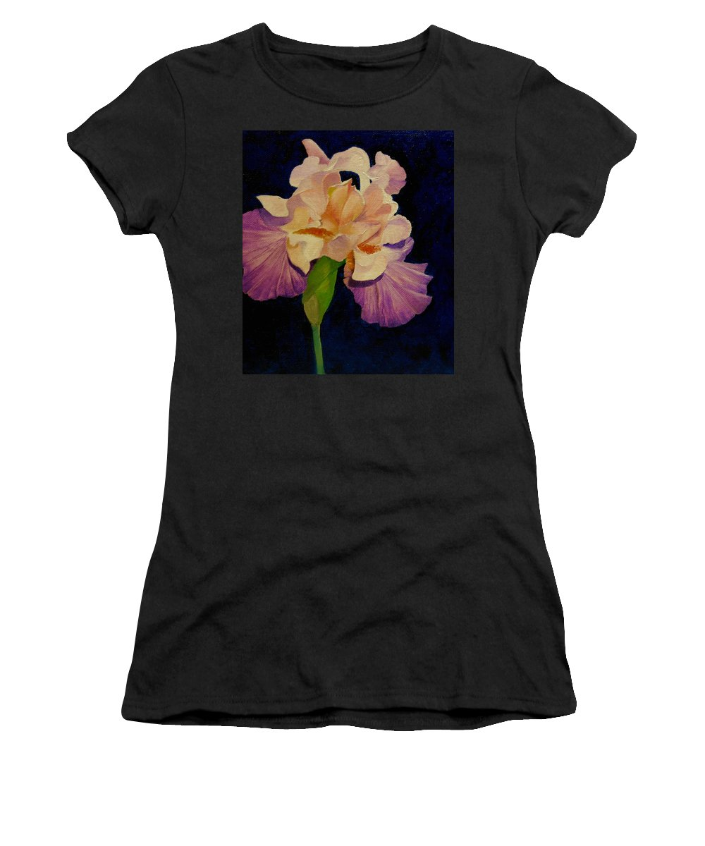 Floral Women's T-Shirt featuring the painting Iris by Peggy Guichu