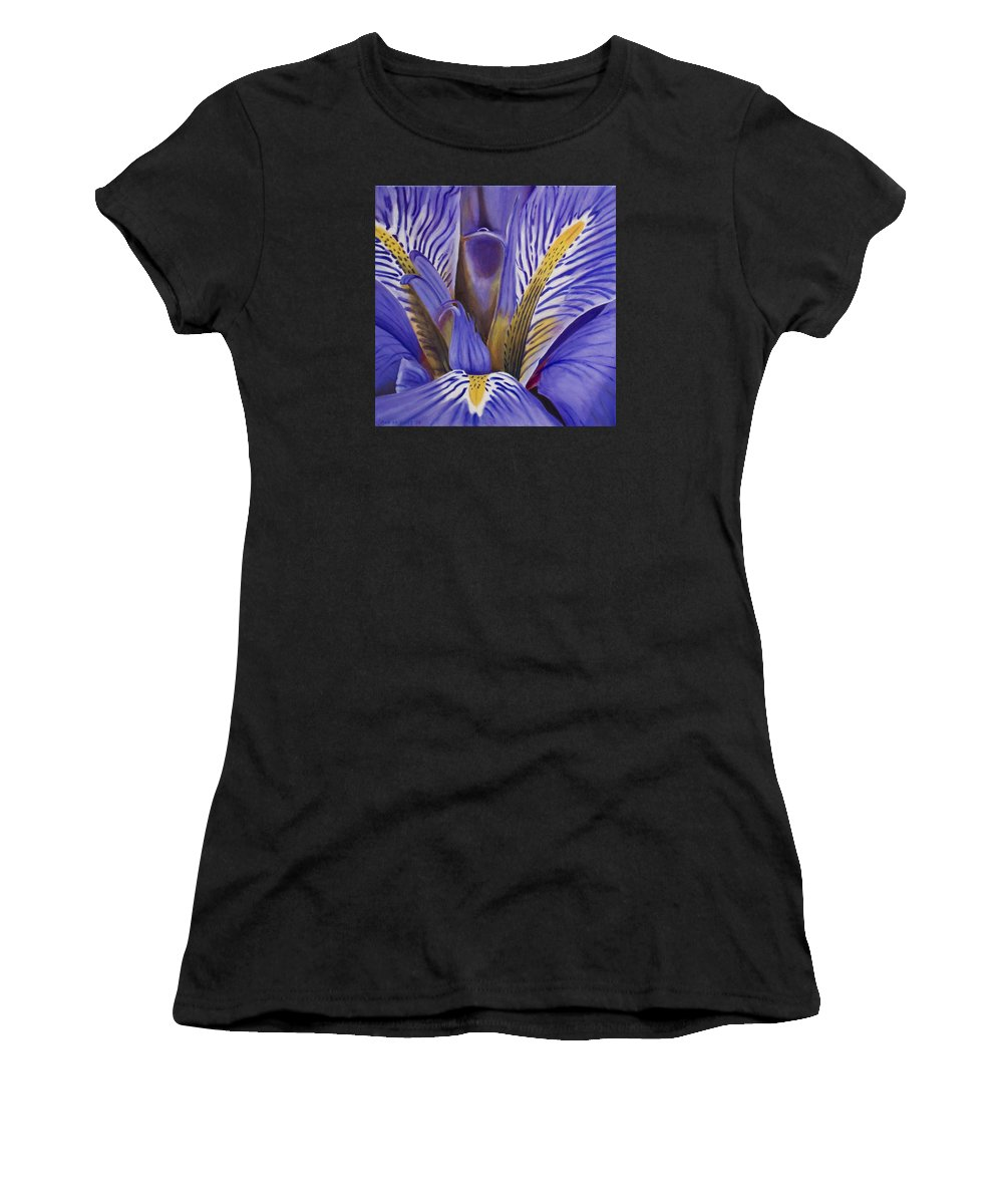 Flower Women's T-Shirt (Athletic Fit) featuring the painting Iris by Rob De Vries