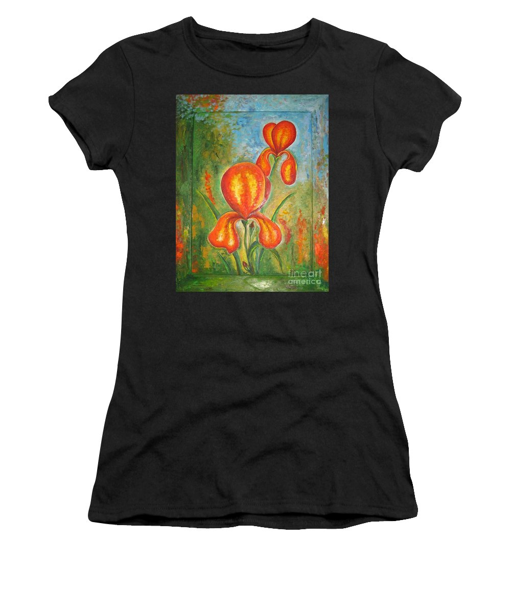 Iris Women's T-Shirt (Athletic Fit) featuring the painting Iris by Stella Velka