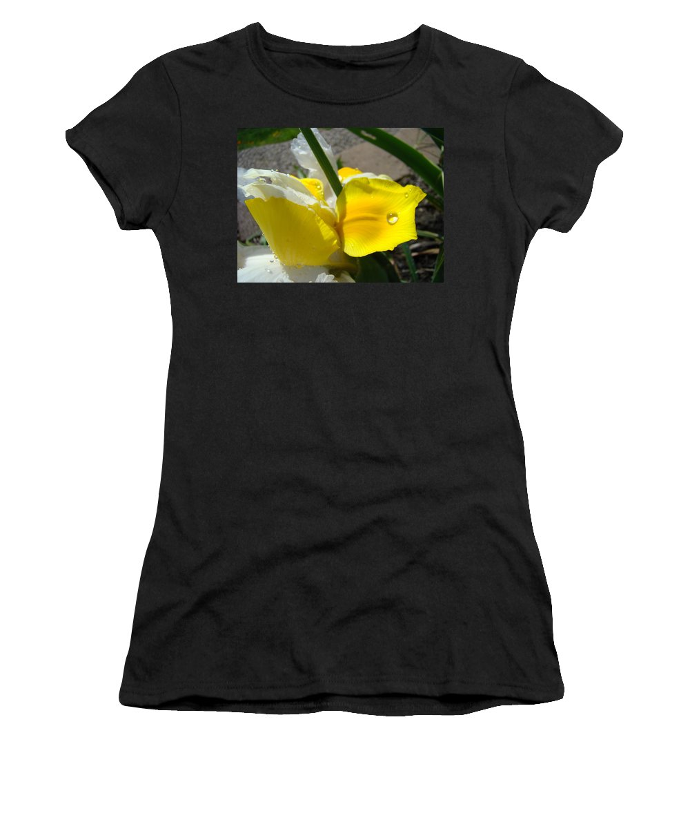 �irises Artwork� Women's T-Shirt (Athletic Fit) featuring the photograph Irises Artwork Iris Flowers Art Prints Flower Rain Drops Floral Botanical Art Baslee Troutman by Baslee Troutman