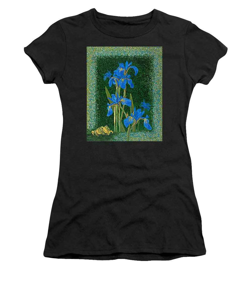 Irises Women's T-Shirt (Athletic Fit) featuring the painting Irises Blue Flowers Lucky Love Frog Friends Fine Art Print Giclee High Quality Exceptional Colors by Baslee Troutman