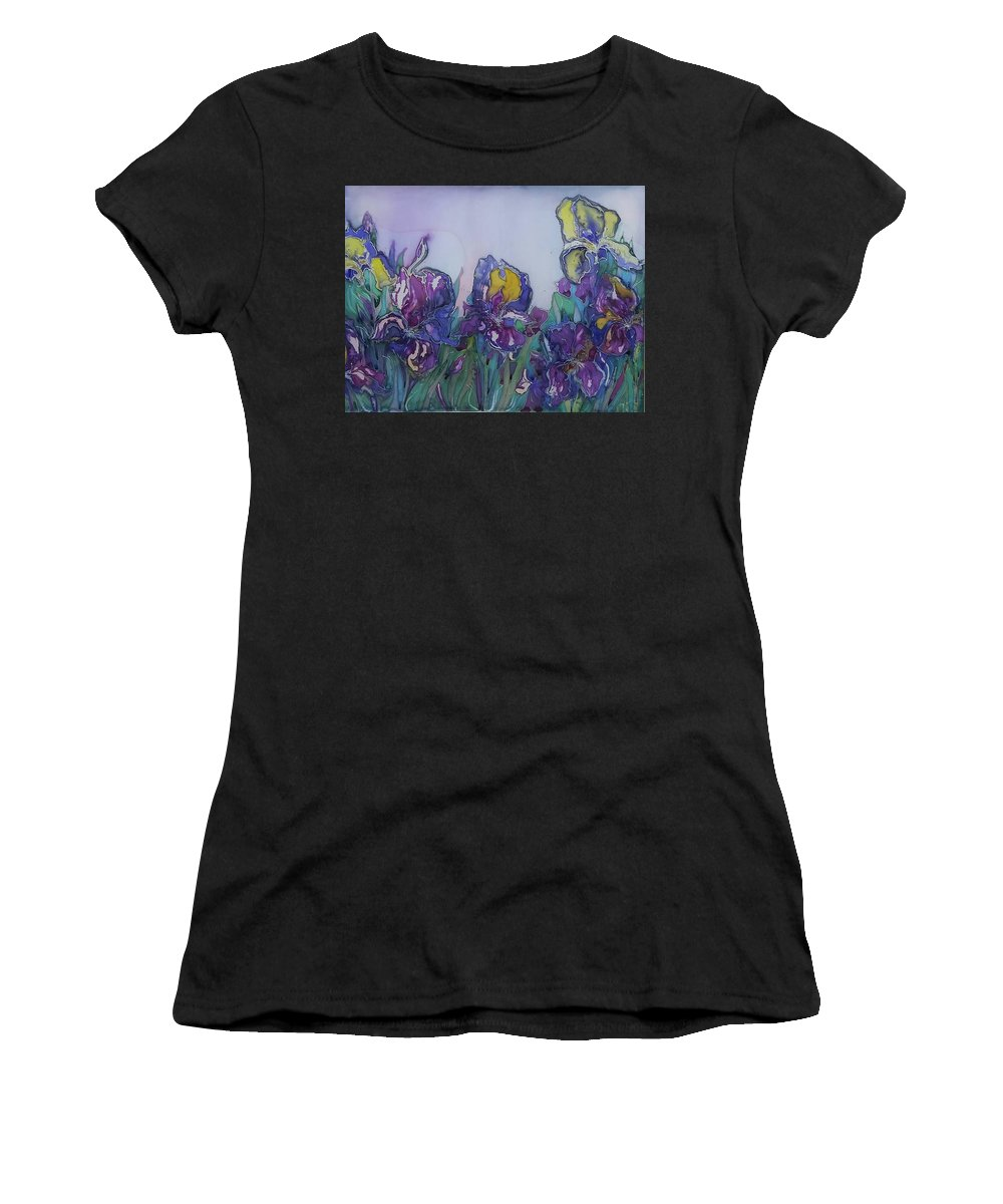 Painting On Silk Women's T-Shirt (Athletic Fit) featuring the painting Irises2 by Natallia Mazurkevich