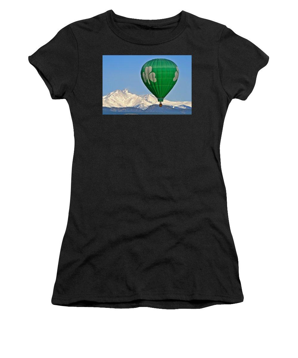 Hotairballoon Women's T-Shirt (Athletic Fit) featuring the photograph Irish Balloon by Scott Mahon