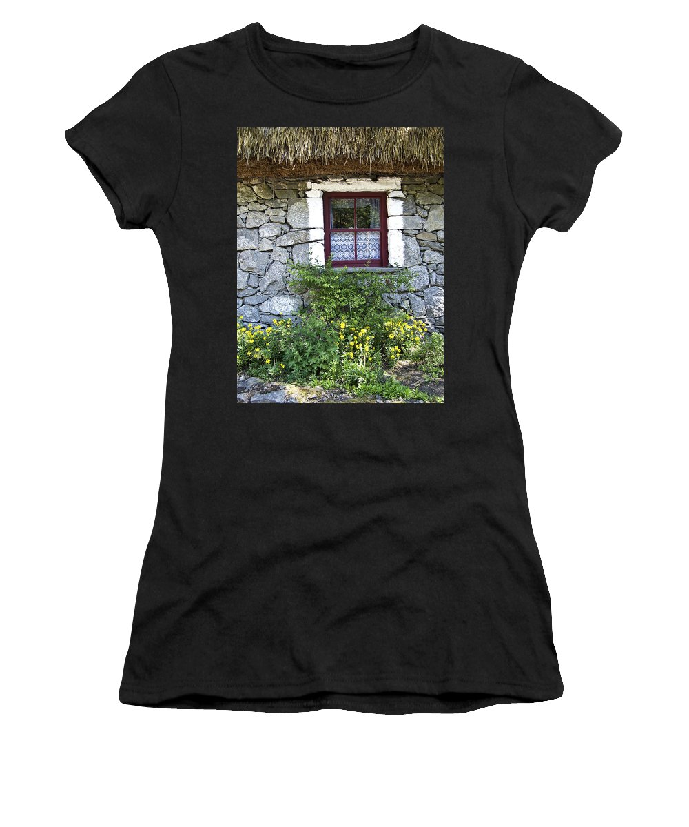 Irish Women's T-Shirt featuring the photograph Irish Cottage Window County Clare Ireland by Teresa Mucha