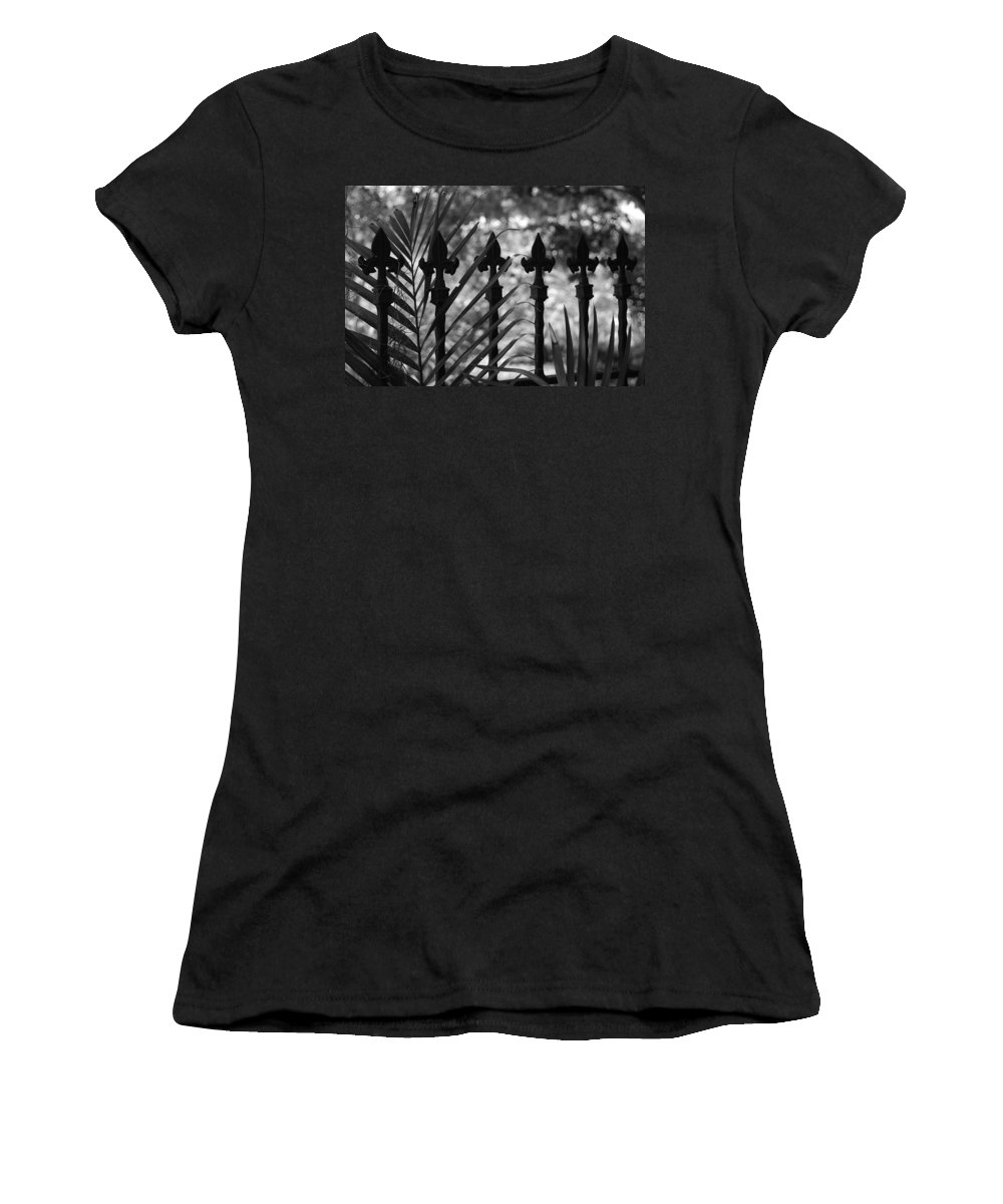 Wrought Iron Women's T-Shirt (Athletic Fit) featuring the photograph Iron Fence by Rob Hans