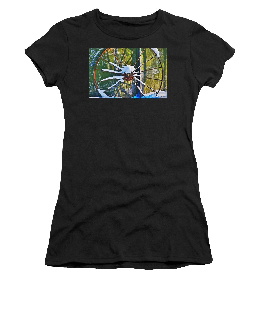 Iron Women's T-Shirt (Athletic Fit) featuring the photograph Iron Wheel by Robert Pearson