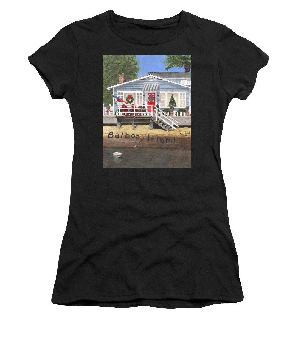 Balboa Island Women's T-Shirt (Athletic Fit) featuring the painting Island Cottage by Tom Popplewell