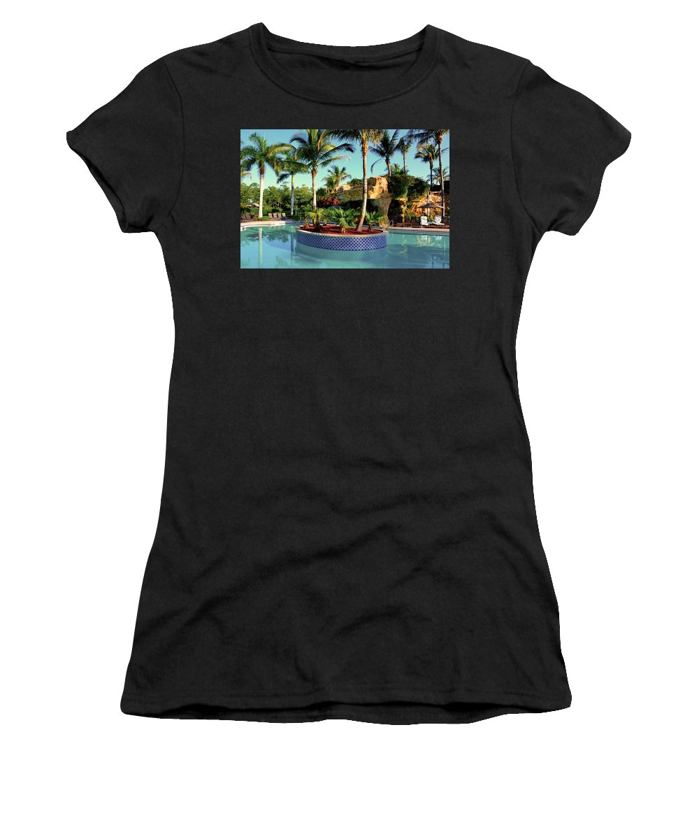 Blue Sky Women's T-Shirt featuring the photograph Island In Pool by Dale Chapel