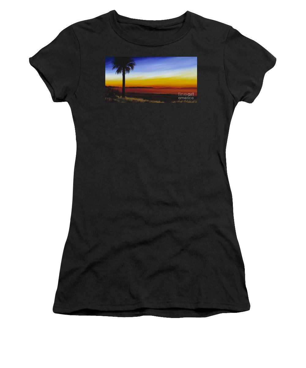 Palmetto Tree Women's T-Shirt featuring the painting Island River Palmetto by James Christopher Hill