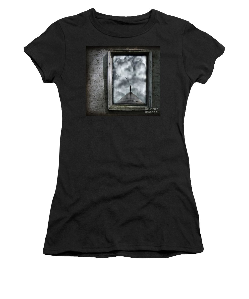 Dark Women's T-Shirt (Athletic Fit) featuring the painting Isolation by Jacky Gerritsen