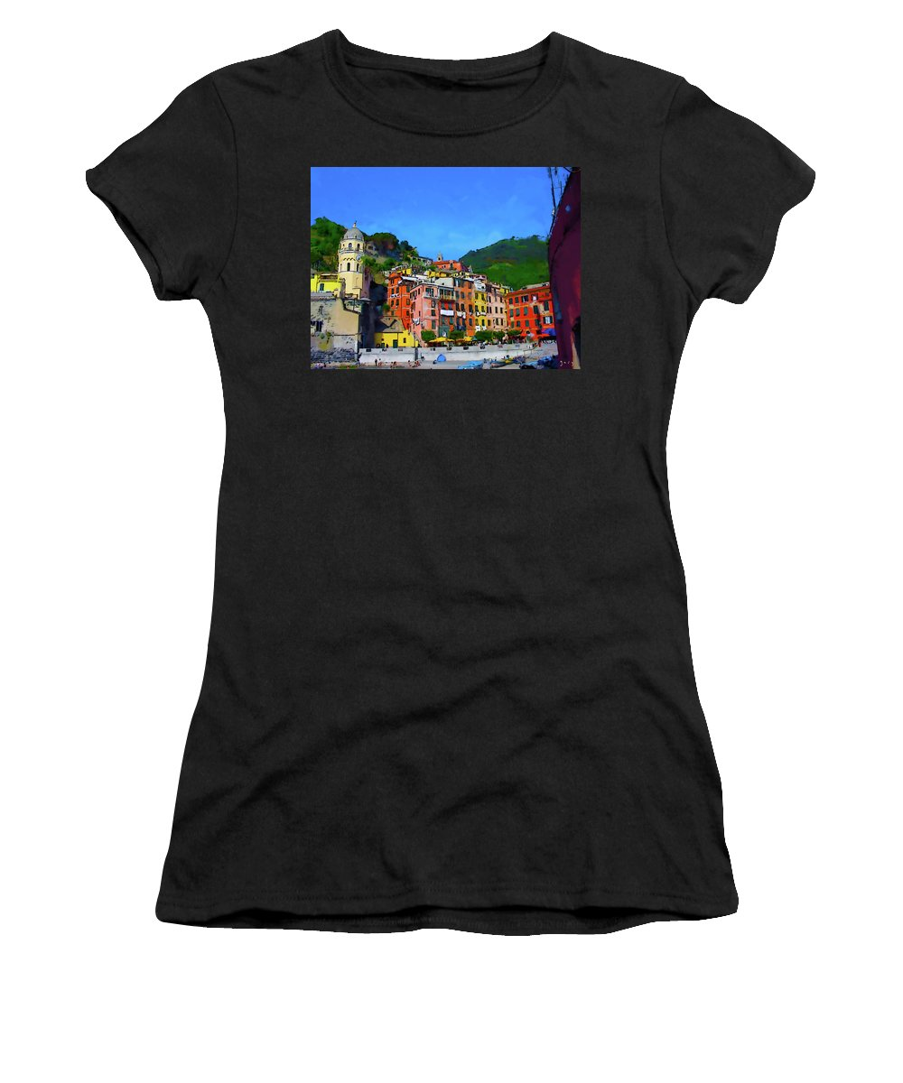 Abstract Photograph Women's T-Shirt (Athletic Fit) featuring the digital art Italian Beachside by Gary Hopkins