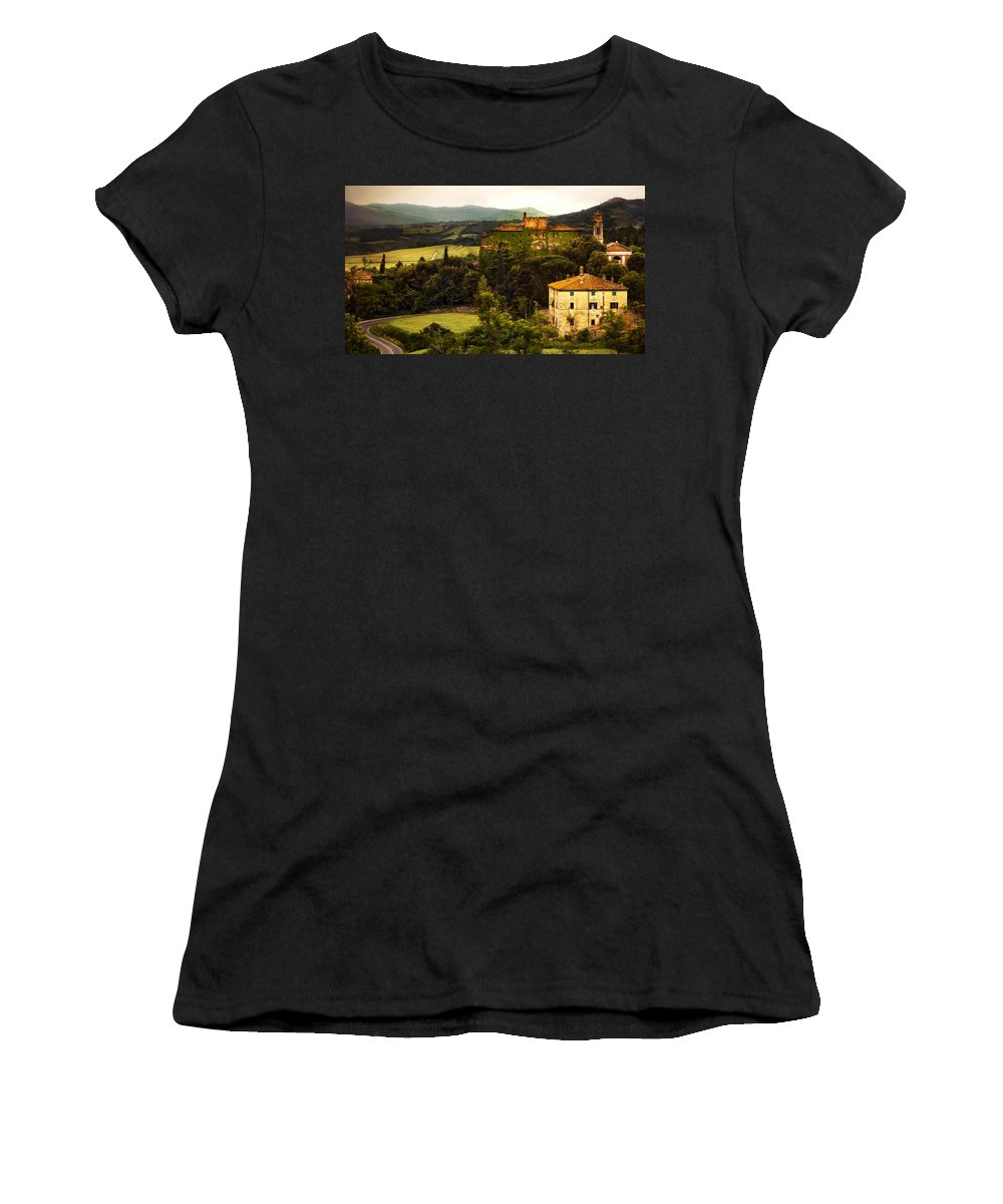 Italy Women's T-Shirt (Athletic Fit) featuring the photograph Italian Castle And Landscape by Marilyn Hunt