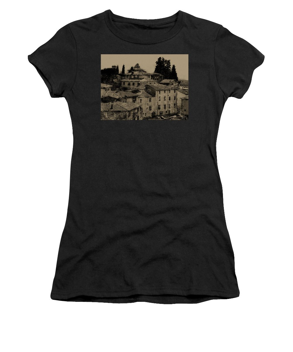 Abstract Landscape Women's T-Shirt (Athletic Fit) featuring the digital art Italian Villas by Gary Hopkins