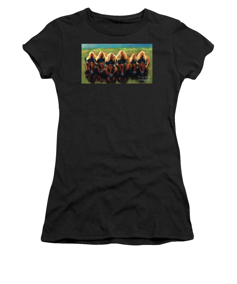 Bison Women's T-Shirt (Athletic Fit) featuring the painting Its All Bull by Frances Marino