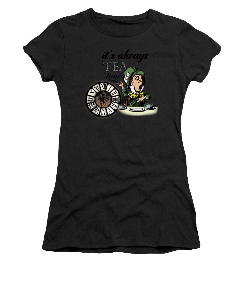 Bonkers Women's T-Shirt featuring the digital art It's Always Tea Time Mad Hatter Dictionary Art by Anna W
