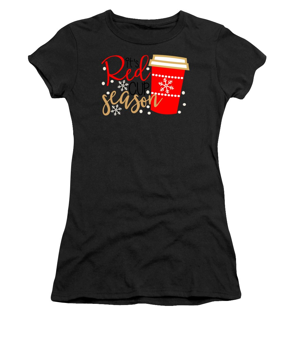 Red Women's T-Shirt (Athletic Fit) featuring the digital art It's Red Cup Season by Cindy Thomas