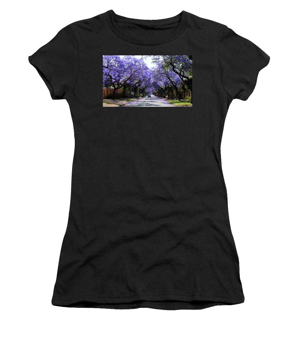 Jacaranda Women's T-Shirt (Athletic Fit) featuring the photograph Jacarandas In Pretoria by Lene Pieters