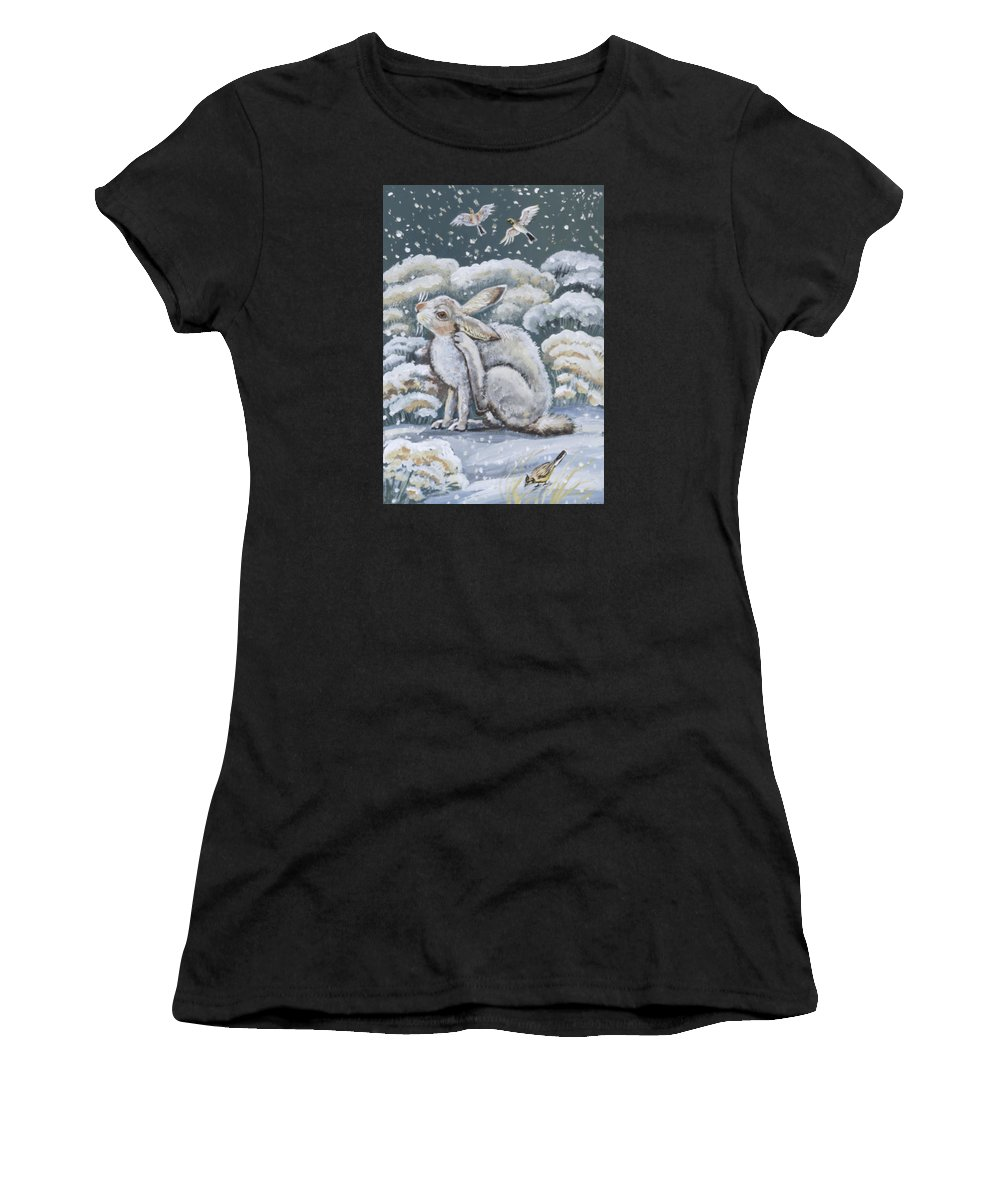 Animal Women's T-Shirt (Athletic Fit) featuring the painting Jackrabbit And Horned Larks by Dawn Senior-Trask