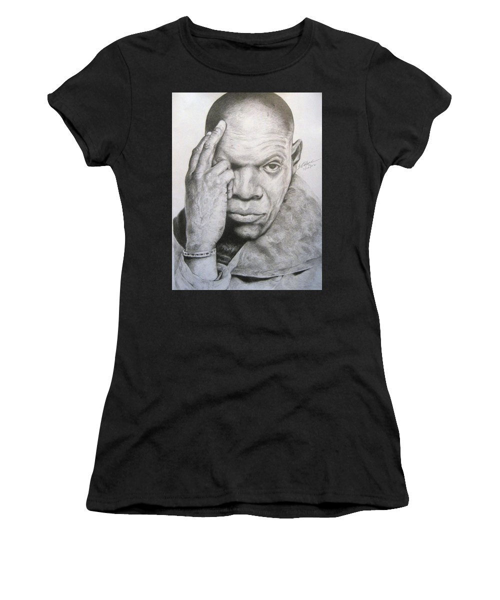 Portrait Women's T-Shirt (Athletic Fit) featuring the drawing Jackson By Kyle Anderson by Joyce Owens