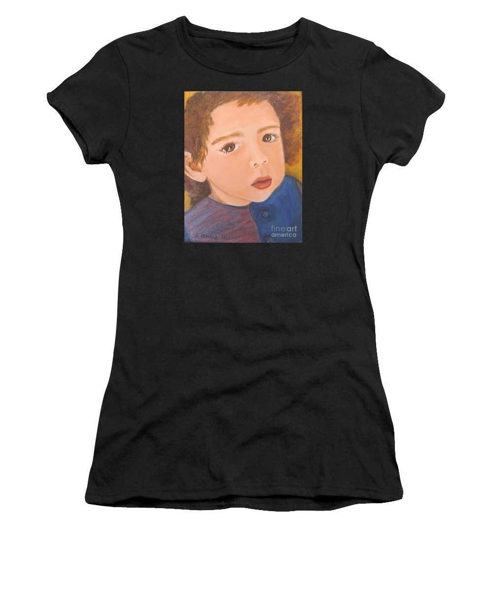 Portrait Women's T-Shirt (Athletic Fit) featuring the painting Jackson by Laurie Morgan