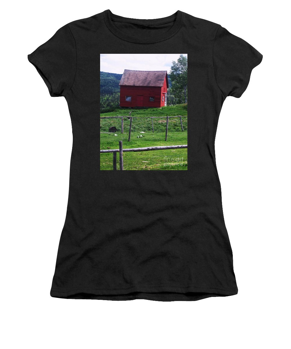 Photograph Newfoundland Jackson Cove Boat Grass Women's T-Shirt (Athletic Fit) featuring the photograph Jackson's Cove by Seon-Jeong Kim