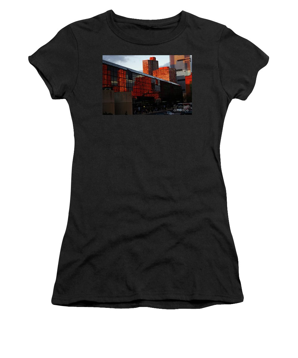 New York City Women's T-Shirt featuring the photograph Jacob Javits Reflections by Rich Walter