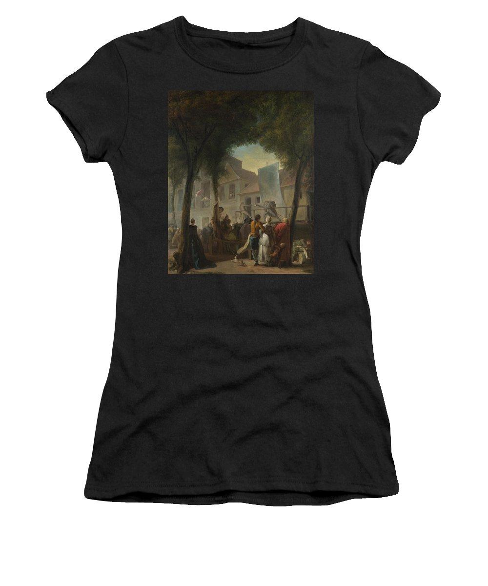 Gabriel Women's T-Shirt (Athletic Fit) featuring the digital art Jacques De Saint Aubin  A Street Show In Paris by PixBreak Art