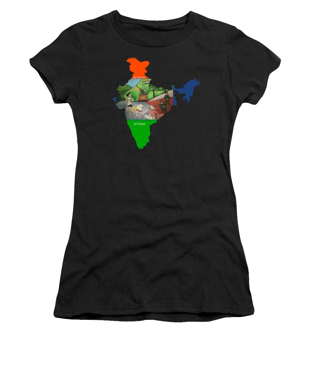 Rest House Women's T-Shirt featuring the painting Jai Jawan Jai Kisan by Artist Nandika Dutt