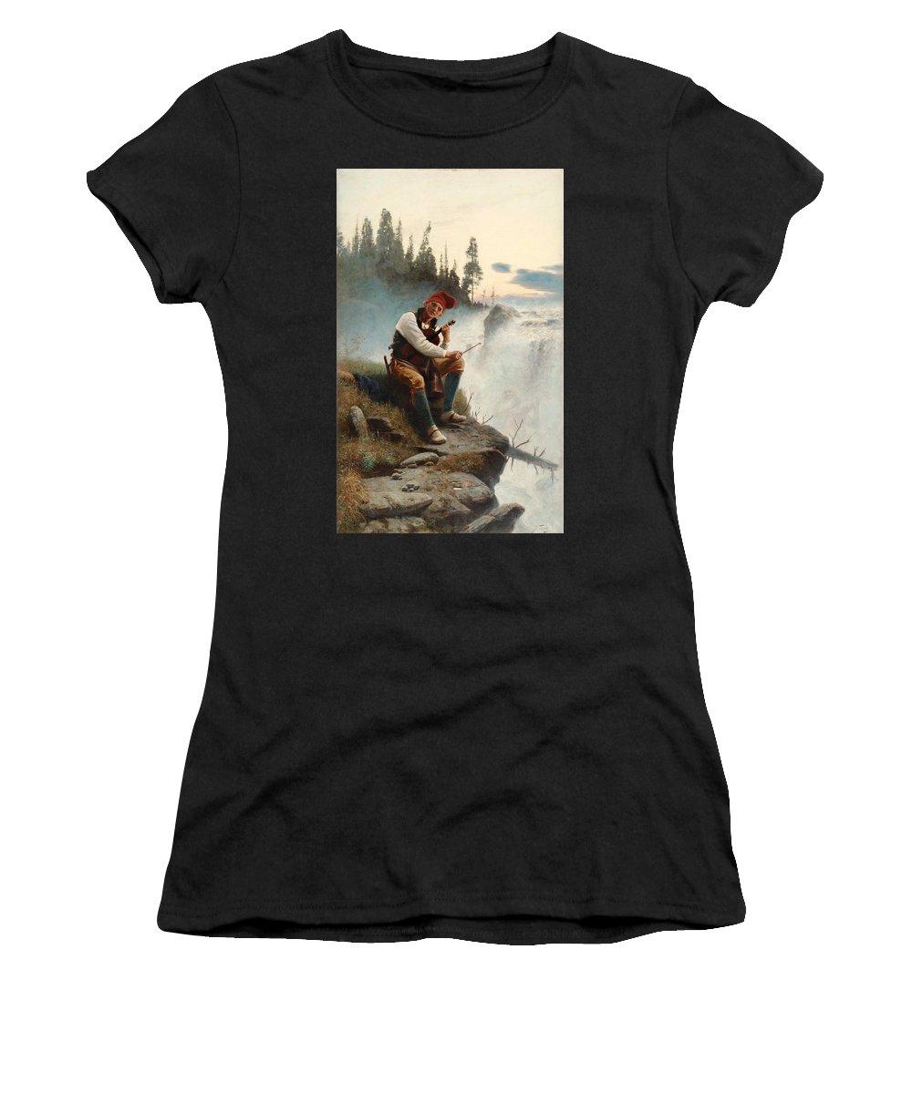 Johan Tiren Women's T-Shirt featuring the painting Jamtlands Sagen by Johan Tiren