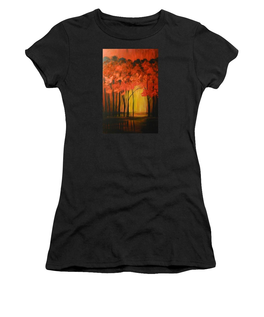 Abstract Women's T-Shirt (Athletic Fit) featuring the painting Japanese Forest by Sabina Surya Naya