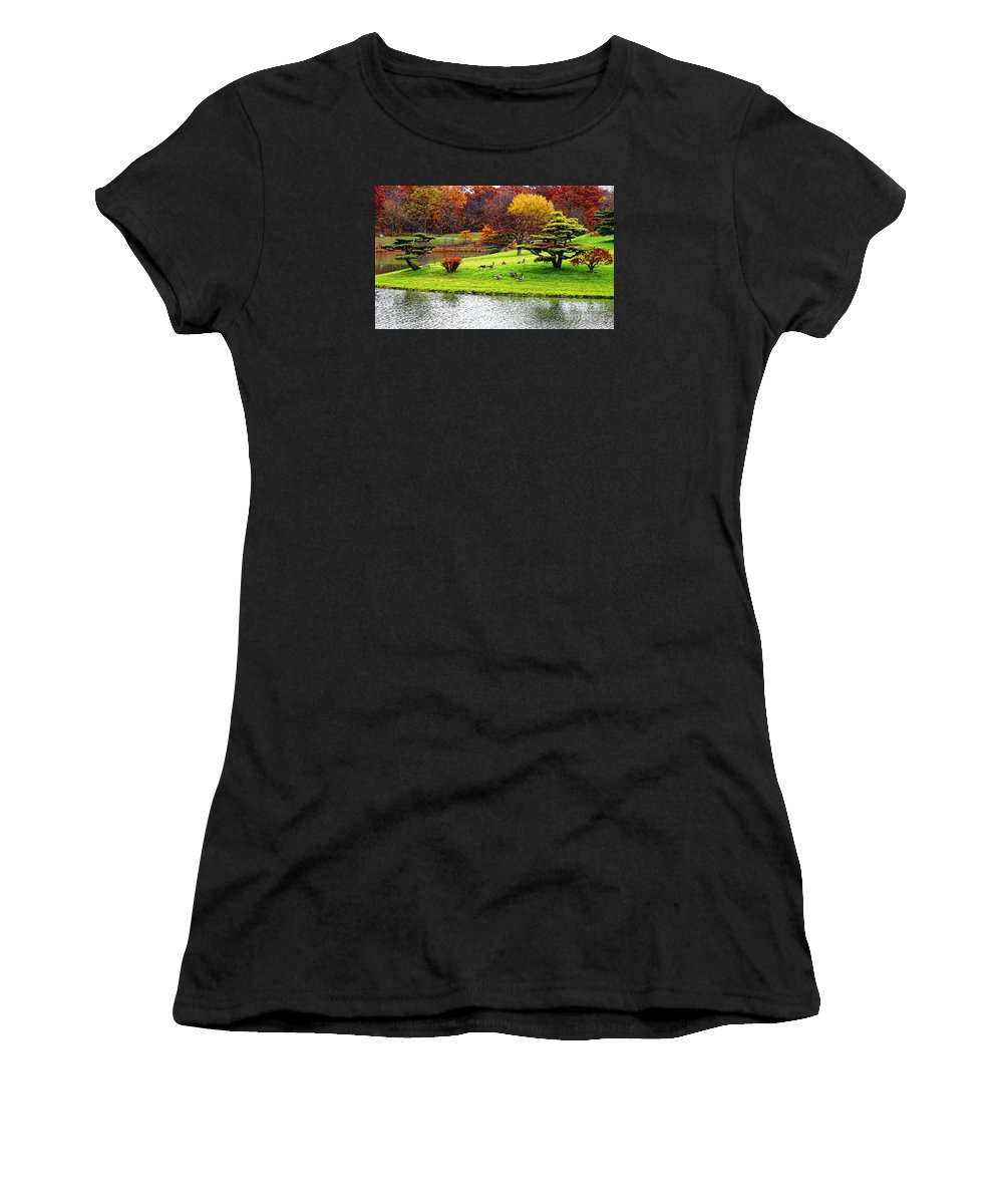 Fall Landscape Women's T-Shirt (Athletic Fit) featuring the photograph Japanese Island Fall Colors by Anna Sheradon