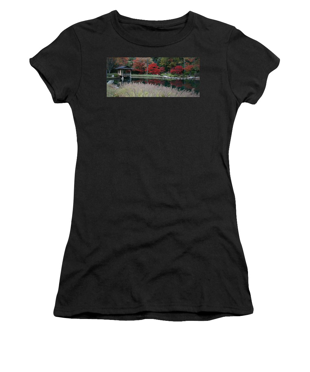 Japanese Women's T-Shirt (Athletic Fit) featuring the mixed media Japanese Serenity by Tina Meador