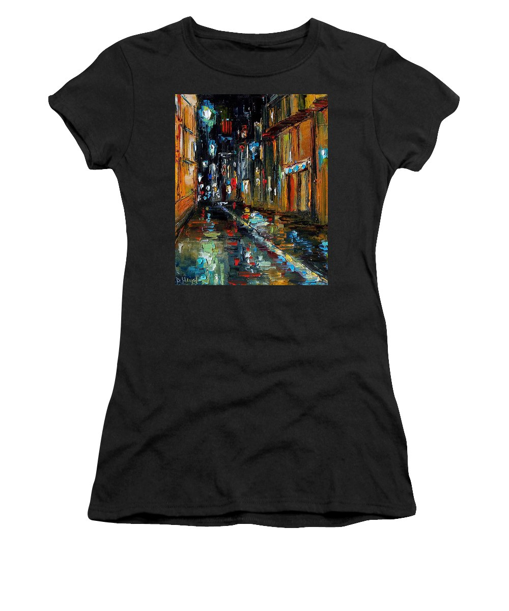 New Orleans Women's T-Shirt featuring the painting Jazz Alley by Debra Hurd