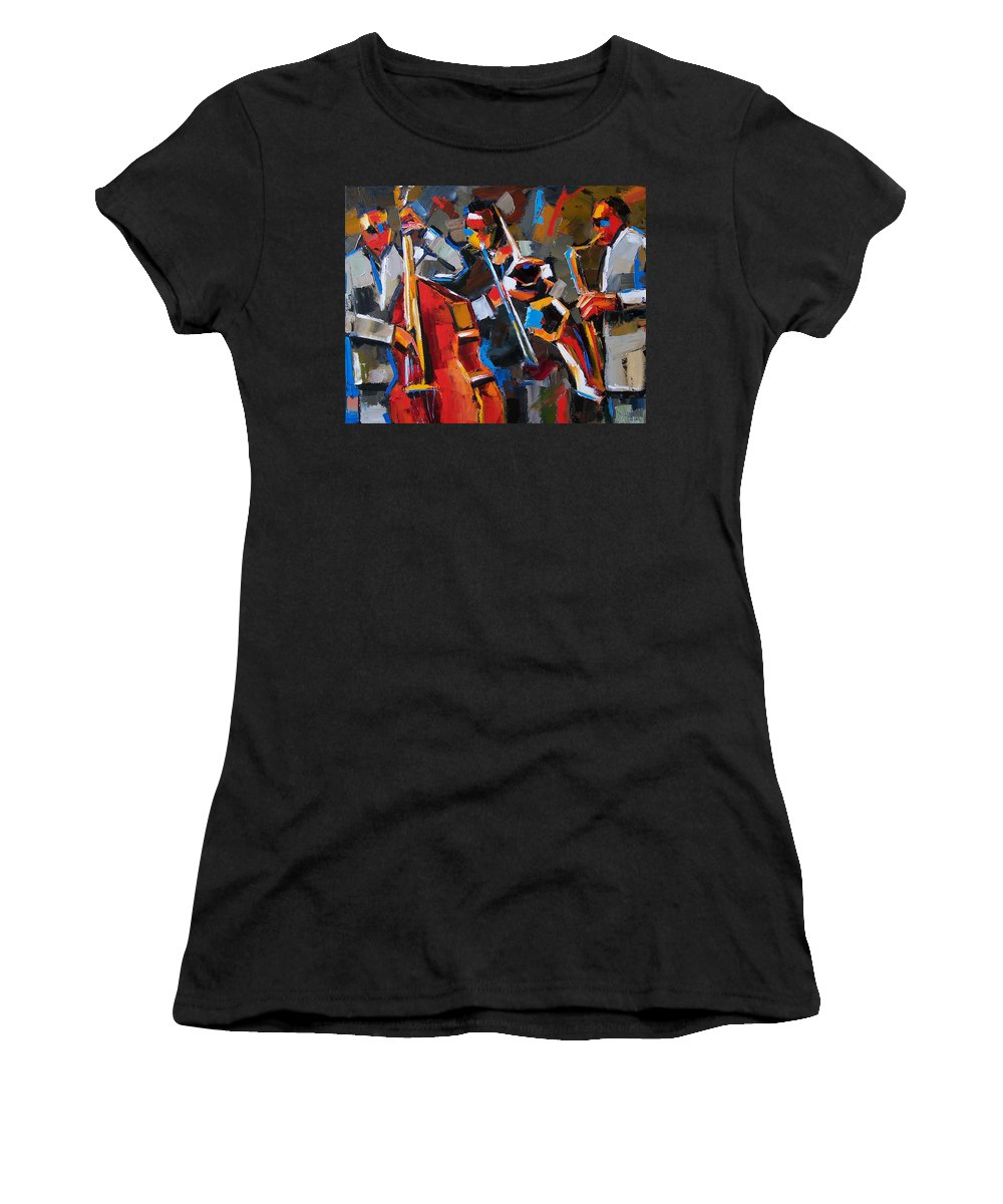 Jazz Women's T-Shirt (Athletic Fit) featuring the painting Jazz Angles by Debra Hurd