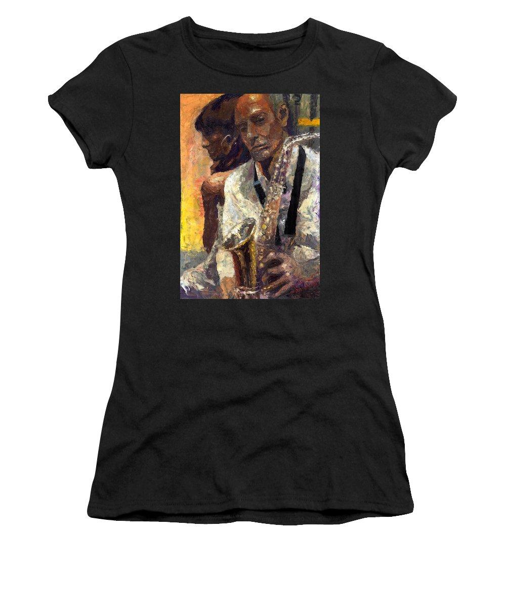 Jazz Women's T-Shirt (Athletic Fit) featuring the painting Jazz Muza by Yuriy Shevchuk
