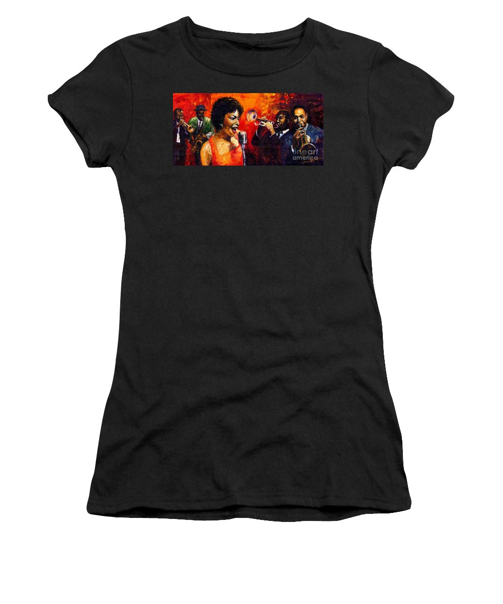 Jazz.song.trumpeter Women's T-Shirt (Athletic Fit) featuring the painting Jazz Song by Yuriy Shevchuk
