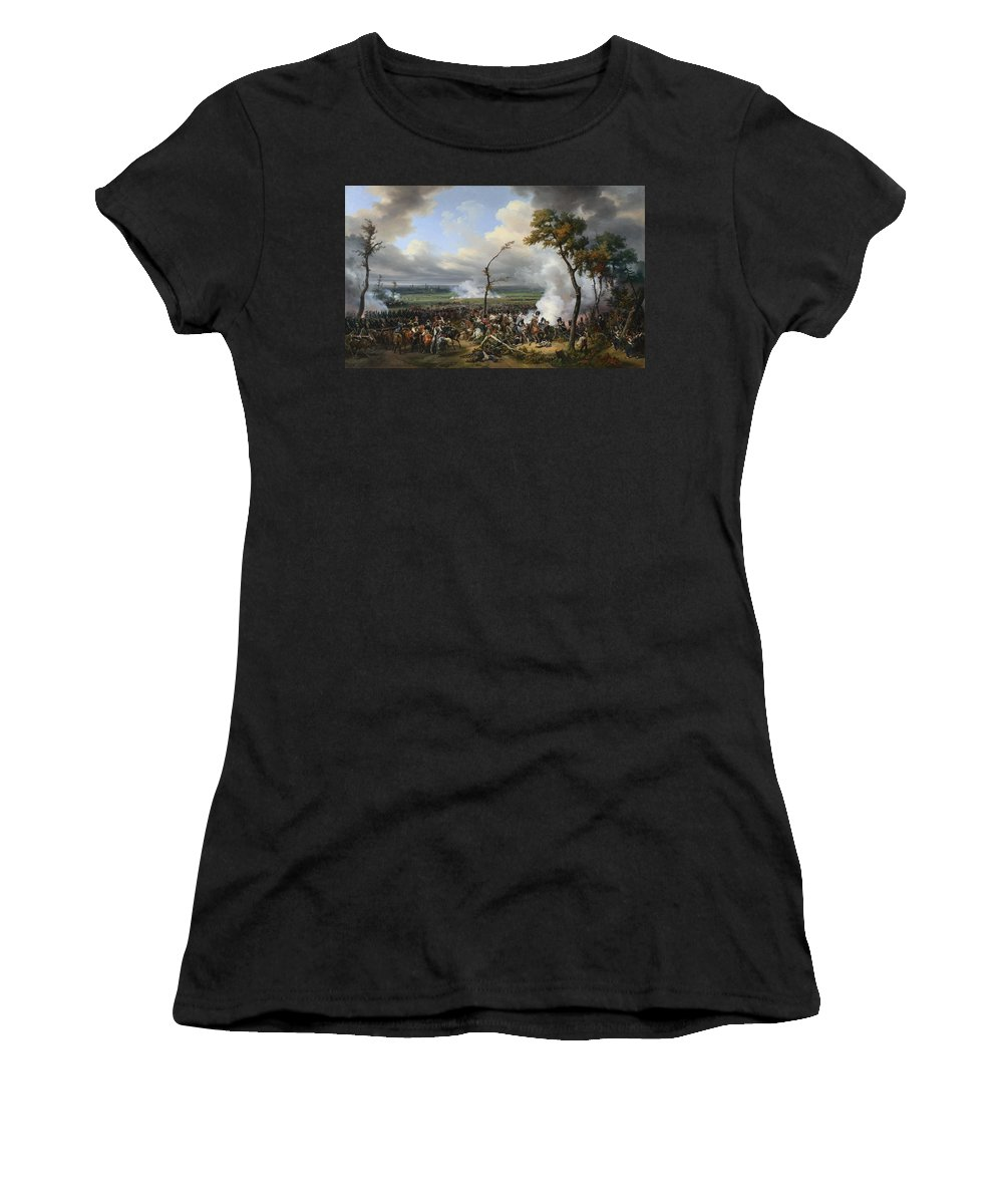 Emile Women's T-Shirt (Athletic Fit) featuring the digital art Jean Horace Vernet  The Battle Of Hanau by PixBreak Art