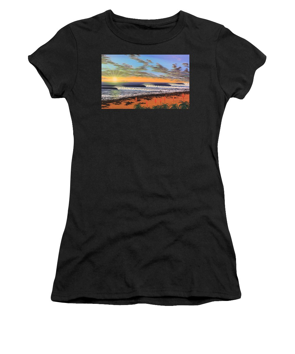 Surf Women's T-Shirt (Athletic Fit) featuring the painting Jeffreys Bay South Africa by Marty Calabrese