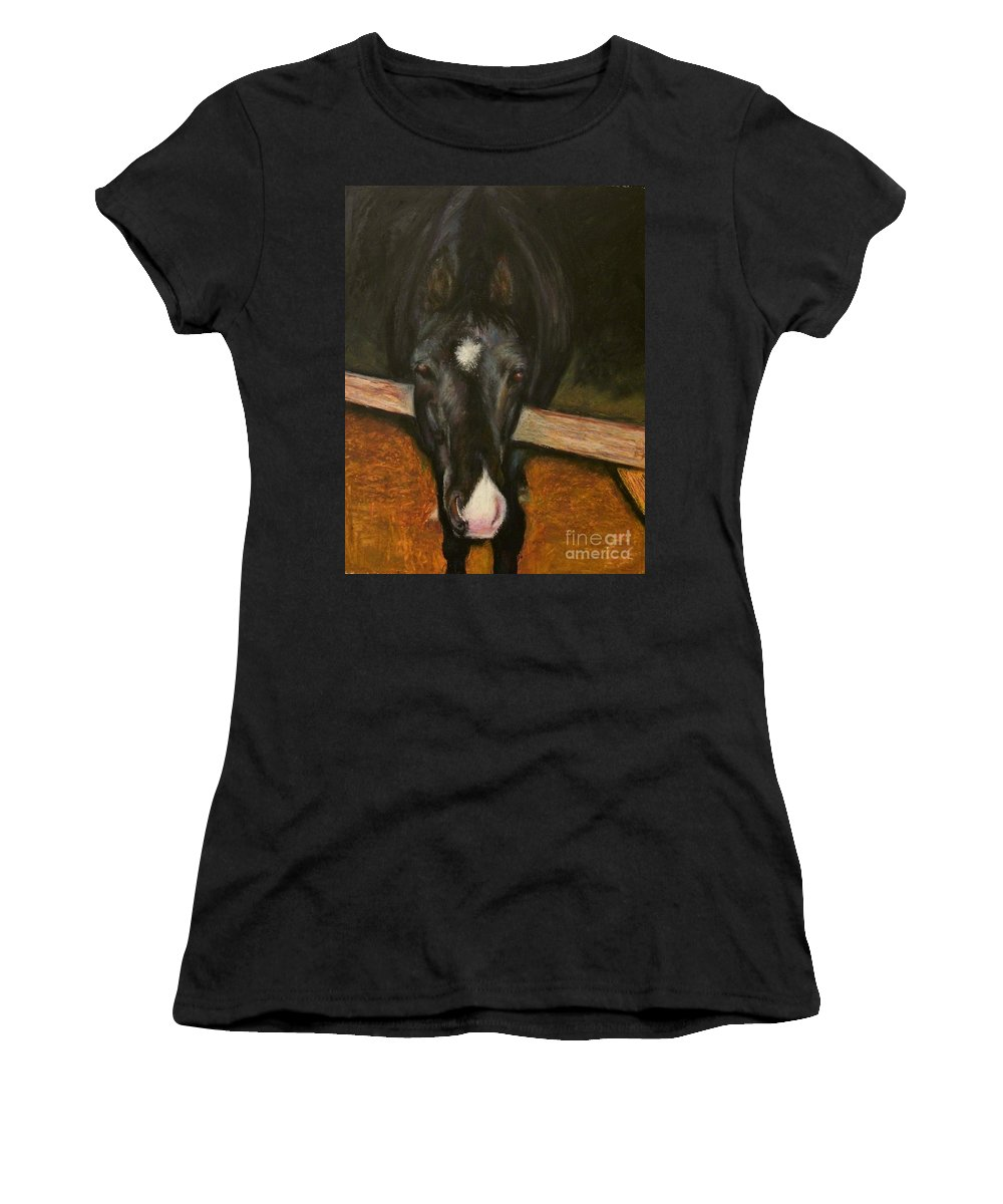 Horse Women's T-Shirt (Athletic Fit) featuring the painting Jesse by Frances Marino
