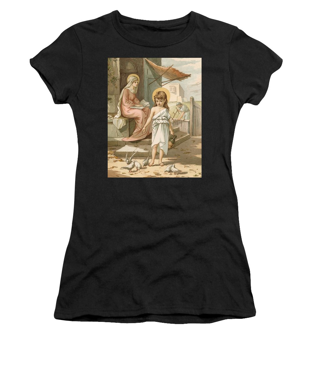 Bible; Jesus; Child; Boy; Playing; Doves; Birds; Joseph; Work; Carpenter; Carpentry; Virgin Mary; Reading; Yard; Feeding; Sentimental; Sentimentality Women's T-Shirt (Athletic Fit) featuring the painting Jesus As A Boy Playing With Doves by John Lawson
