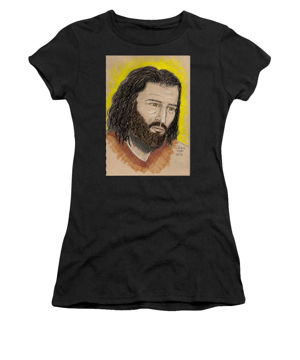 Portrait Women's T-Shirt (Athletic Fit) featuring the painting Jesus by Frank Middleton