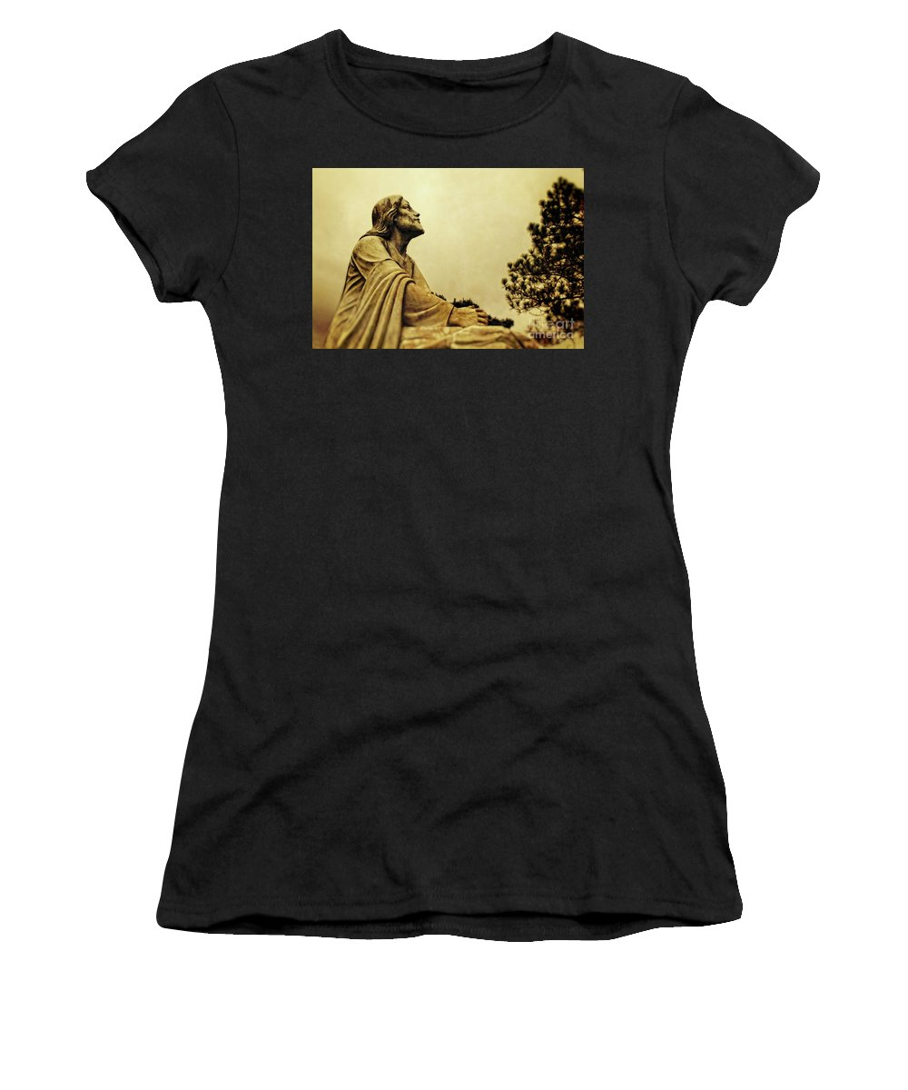 Jesus Women's T-Shirt (Athletic Fit) featuring the digital art Jesus Teach Us To Pray - Christian Art Prints by Ella Kaye Dickey