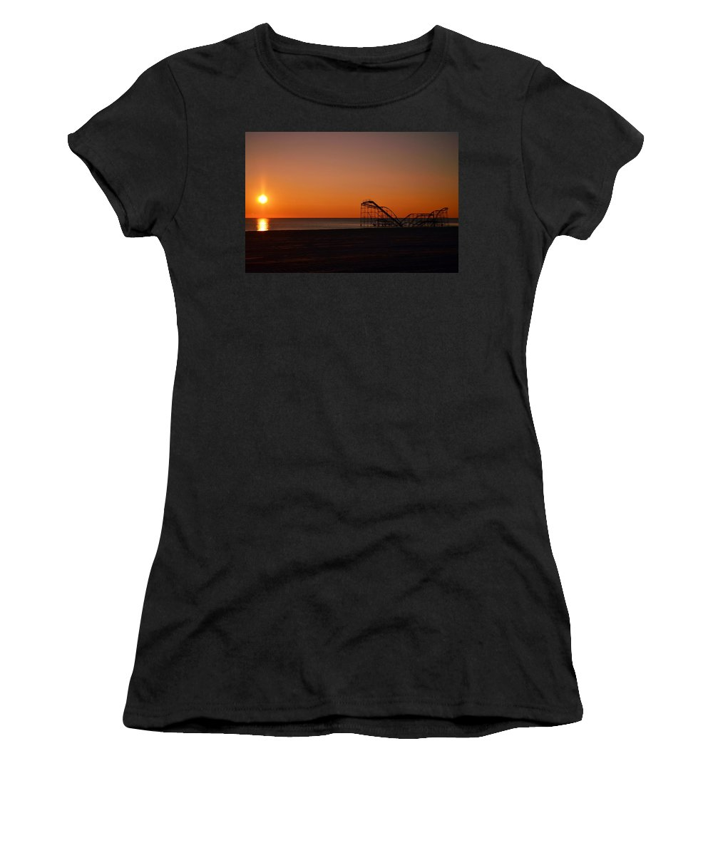 Seaside Heights Women's T-Shirt featuring the photograph Jet Star Rollercoaster Sunrise by Bob Cuthbert