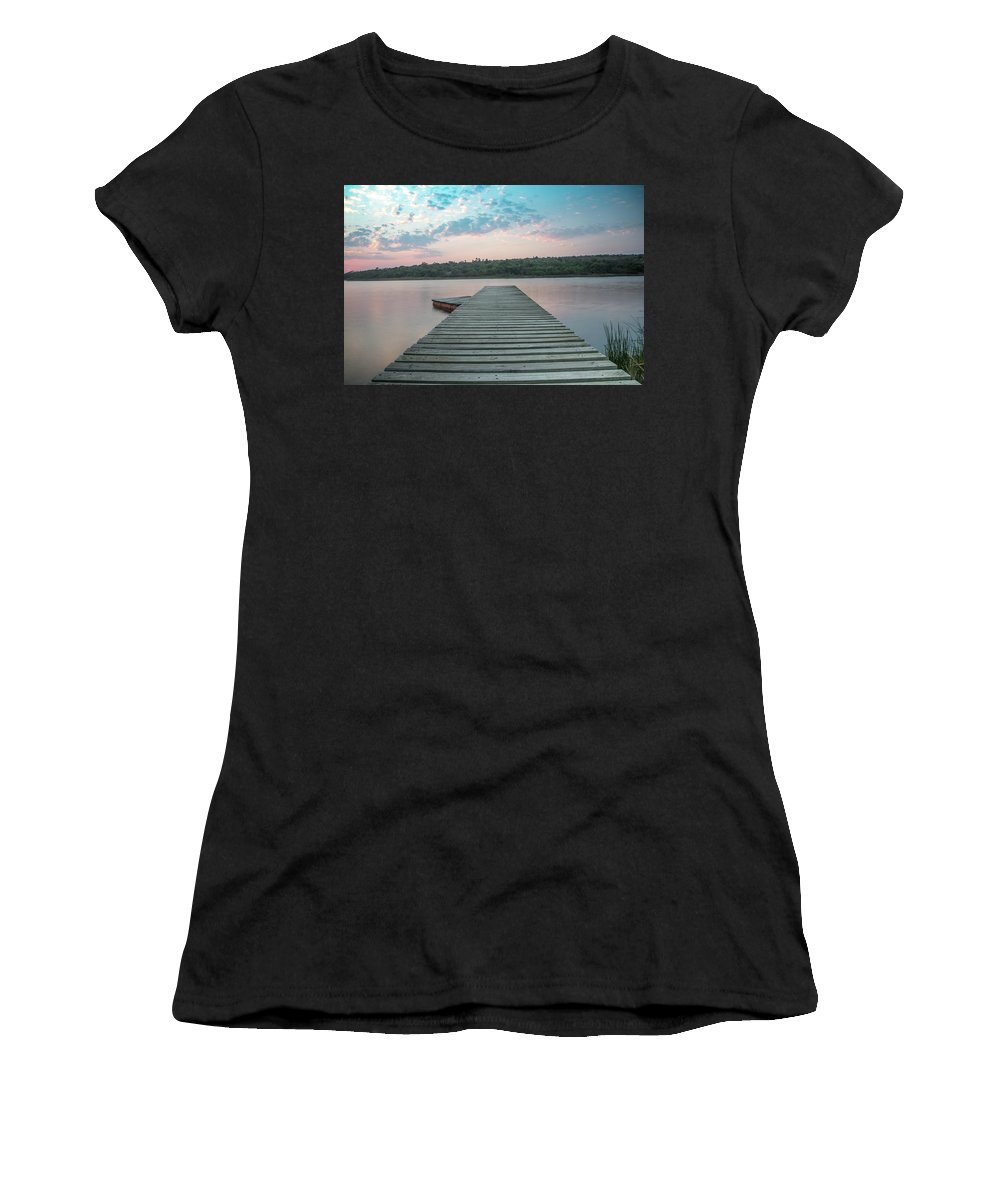 Joburg2kili Women's T-Shirt (Athletic Fit) featuring the photograph Jetty Sunset by Gareth Pickering