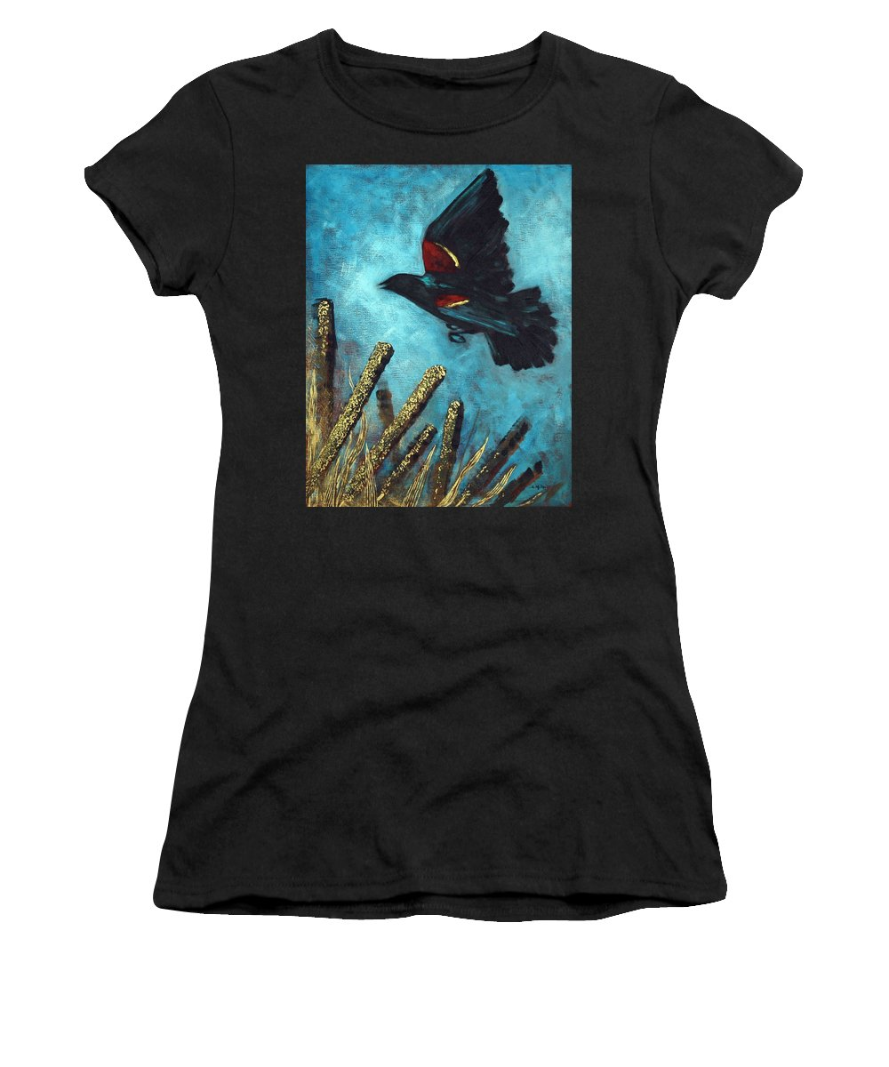 Acrylic Women's T-Shirt (Athletic Fit) featuring the painting Jewel Among The Cattails by Suzanne McKee