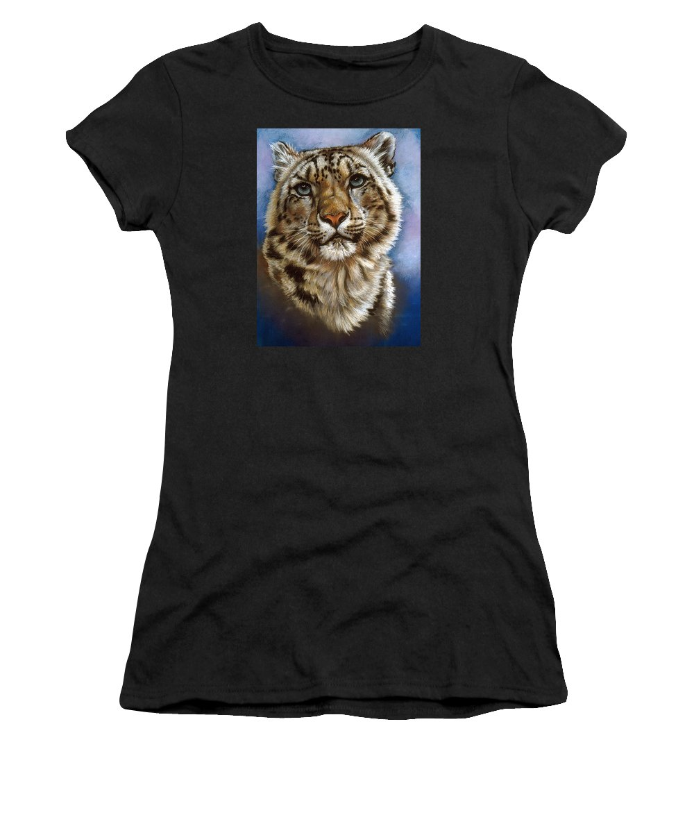 Snow Leopard Women's T-Shirt (Athletic Fit) featuring the pastel Jewel by Barbara Keith