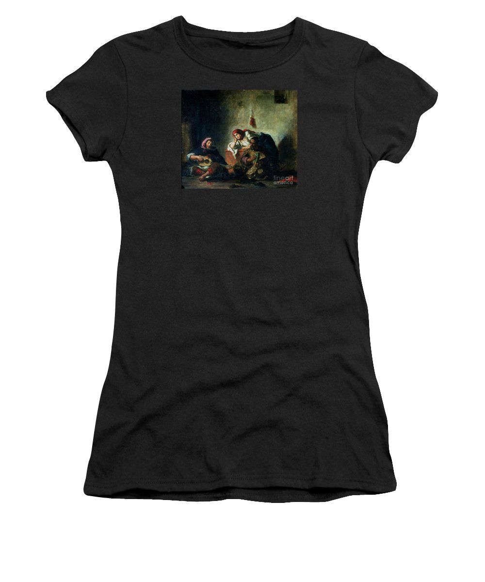 Eugene Delacroix Women's T-Shirt (Athletic Fit) featuring the painting Jewish Musicians In Mogador by MotionAge Designs