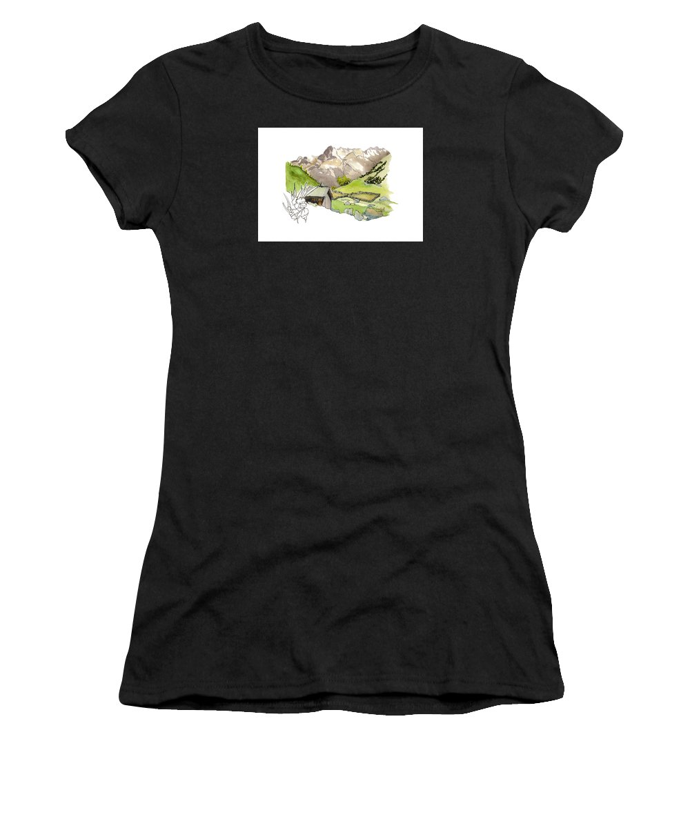 France Mountain Landscape Pastoral French Alps  Alpine Anemones Women's T-Shirt (Athletic Fit) featuring the painting High Pastures,  Col De La Cayolle by Joan Cordell
