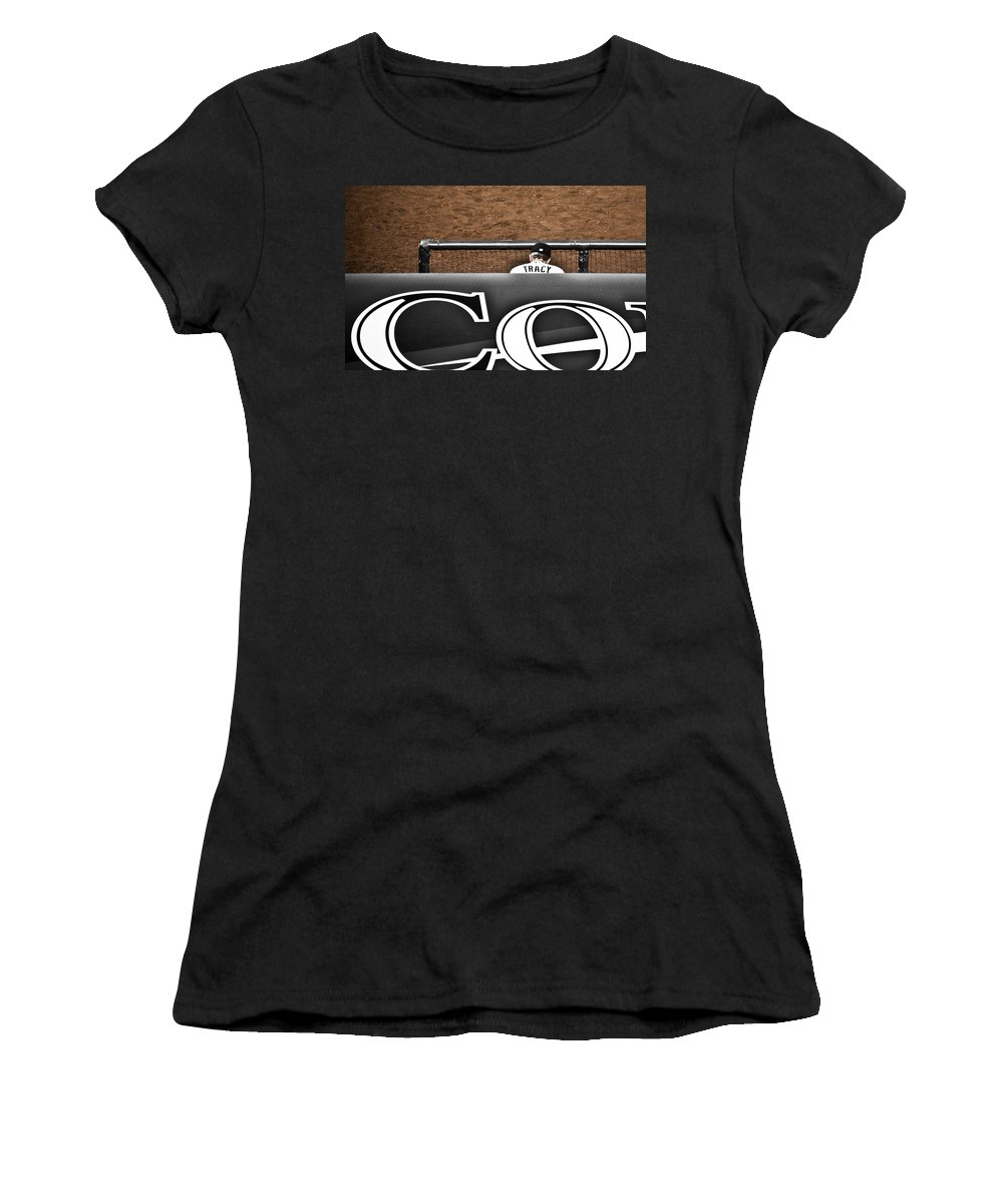 Americana Women's T-Shirt (Athletic Fit) featuring the photograph Jim Tracy Rockies Manager by Marilyn Hunt