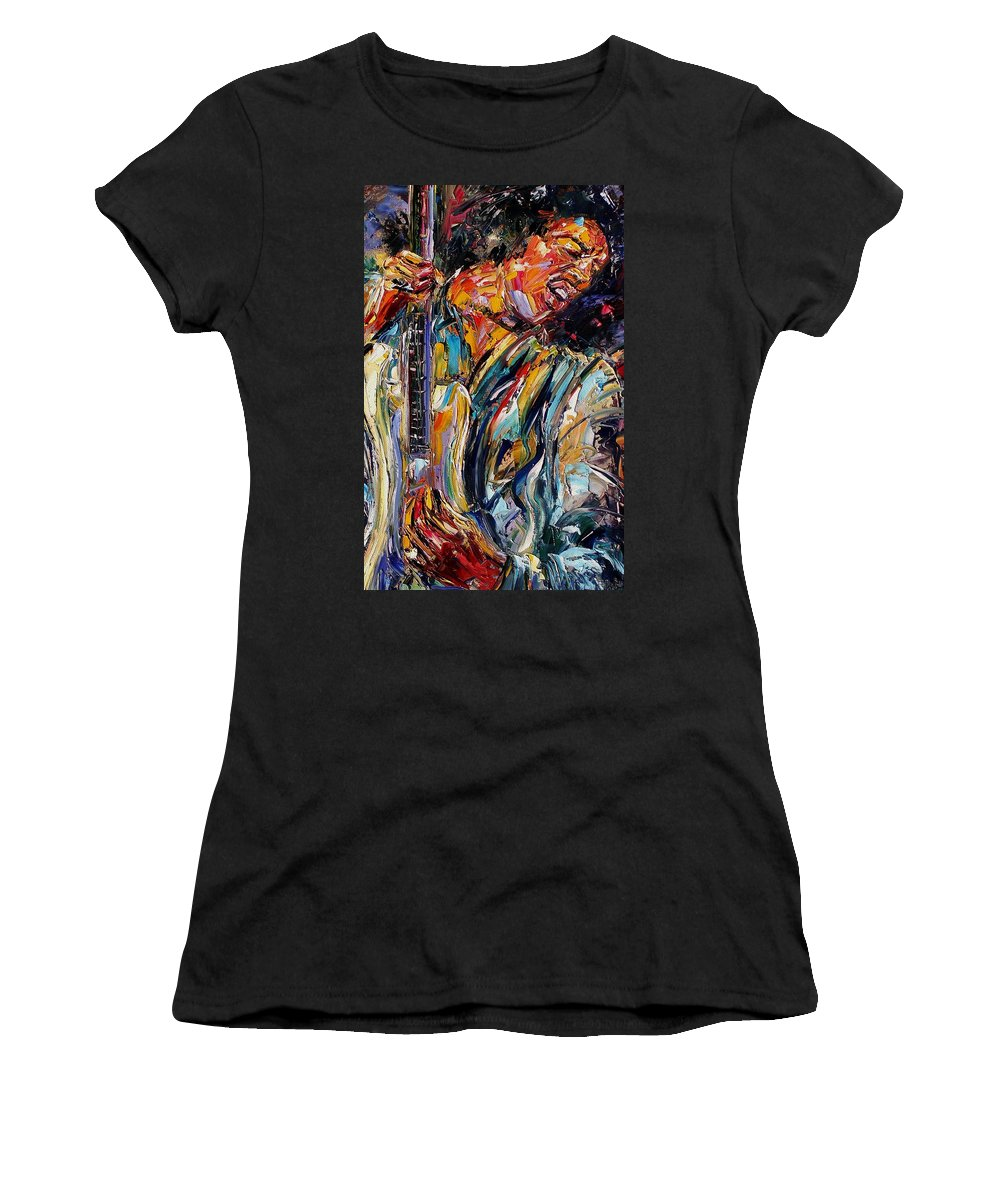 Jimi Hendrix Painting Women's T-Shirt (Athletic Fit) featuring the painting Jimi Hendrix by Debra Hurd